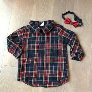 H&M Plaid Button Down with Bow Tie
